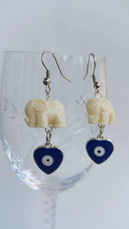 Dangle & Drop Earrings  elephant earrings  evil eye by TresJoliePT