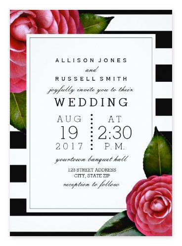 Pink Roses and Black & White Striped Wedding Invitations from Zazzle