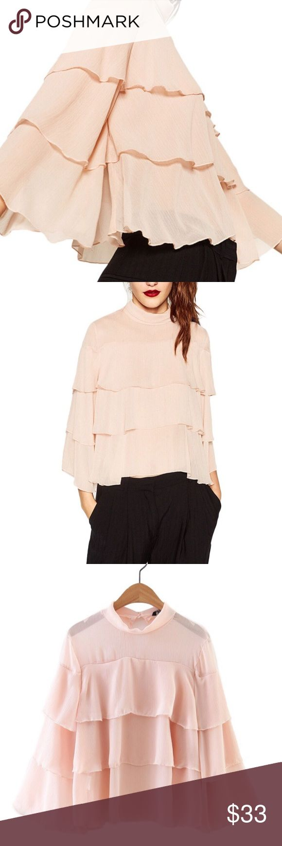 "available soon Layered Bell Top 3/4 length flare/bell sleeve, chiffon/polyester blend, beautifully feminine ruffles  ❤Add this listing to your ""likes"" & I'll send you a notification when it's in stock. Limited quantities. Optional: Purchase now & we will ship automatically when it's in stock. ❓Please ask all your questions before you buy so I can make your purchase absolutely perfect. Tops"