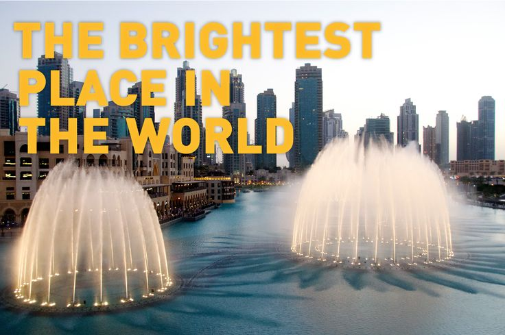 Must-see in Dubai: the magnificent Dubai Fountains. This popular tourist attraction is set in the Burj Khalifa Lake and has beautiful shows everyday