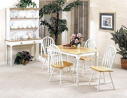 ACME High Quality Farmhouse Natural Finish Dining Table Set Includes 4 Chairs X