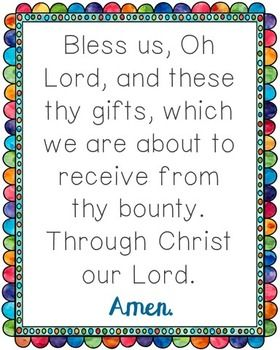 Bless Us Oh Lord Poster. Comes in JPEG for large posters and a PDF to print from your desktop. Prayer, Blessing, Mealtime, for Kids, for Children.