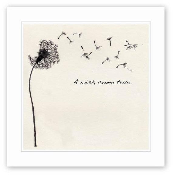 Dandelion Wish Ink drawing by WLforBaby on Etsy #nursery #art #baby