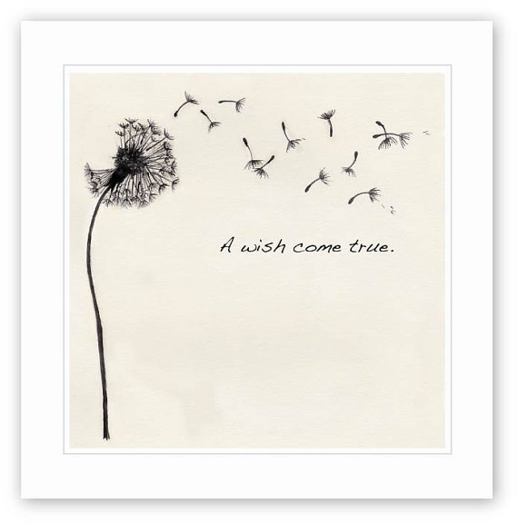 Dandelion Wish Ink drawing by WLforBaby on Etsy #nursery #art #baby