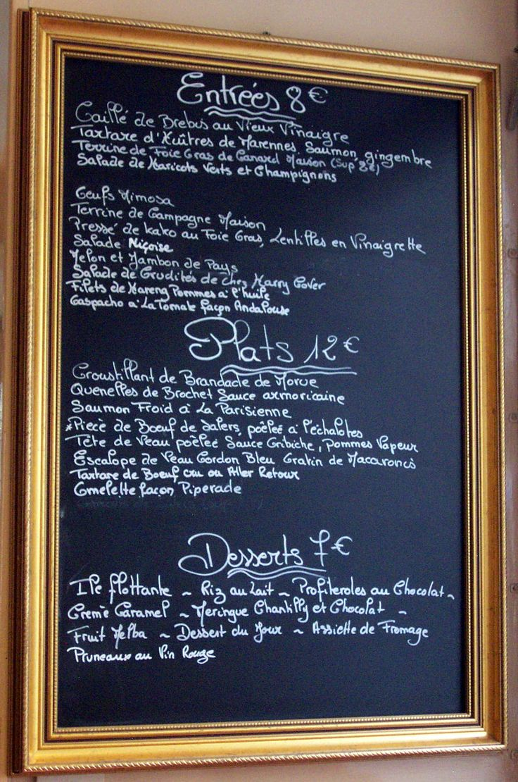 inspired by french cafe menus perfect for an event - Slate Cafe Ideas