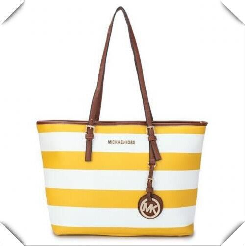 It Is Known That Michael Kors Jet Set Striped Travel Large Black White Totes Has Already Gained Great Reputation Recently!