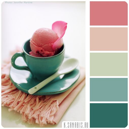 Мороженная палитра в бруснично-зеленом цвете Цвета палитры: брусничный, кремовый, нежно-оливковый, сине-зеленый, изумрудно-зеленый Характеристика палитры: изысканная, аппетитная, природная, нежная