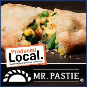 troll through Stauffers frozen food department and you will find our Produced Local partner Mr. Pastie. Mr. Pastie offers three varieties of handmade flakey short crust meat and vegetable turnovers or pasties: Italian Sausage, Chicken & Beef.