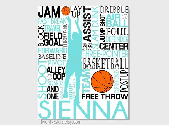 Basketball Typography Art Print, Perfect Sporty Girls Room Art, You Choose the Colors, Makes a Great Gift for any Basketball Lover shown in black, white and teal aqua blue