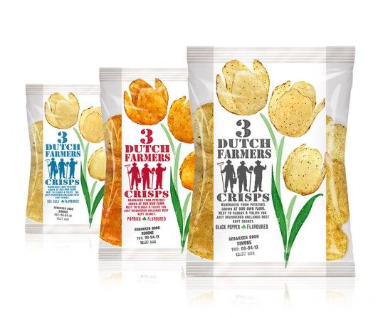 3 Dutch Farmer Crisps - the designer cleverly used the chips as the petals of the flowers for this natural potato chip brand.