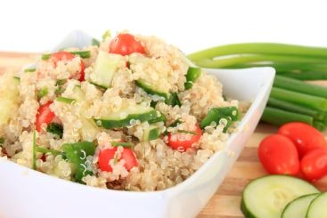 Quinoa is a grain that is gluten-free, is full of easily digestible protein and is loaded with fiber. It also can be easily  swapped in place rice and cooks in minutes.