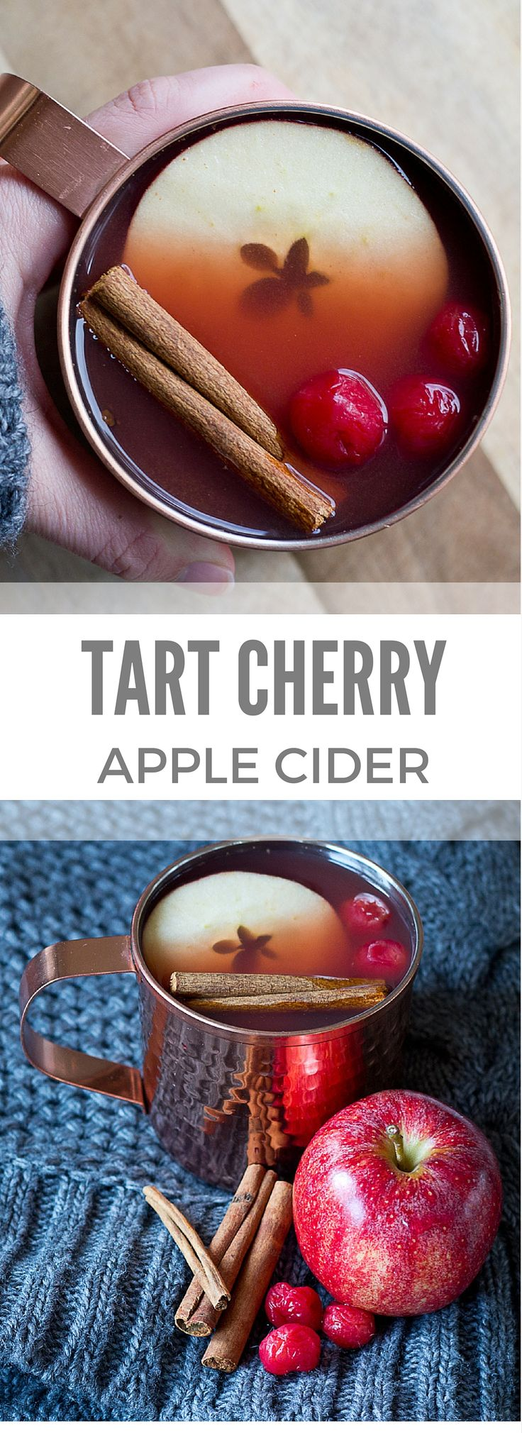 Grab a mug of Mulled Tart Cherry Apple Cider this holiday season. A traditional warm apple cider infused with Montmorency tart cherries… it's easy to prepare and a festive way to celebrate the most wonderful time of the year. #recipe #tart #cherries #appl