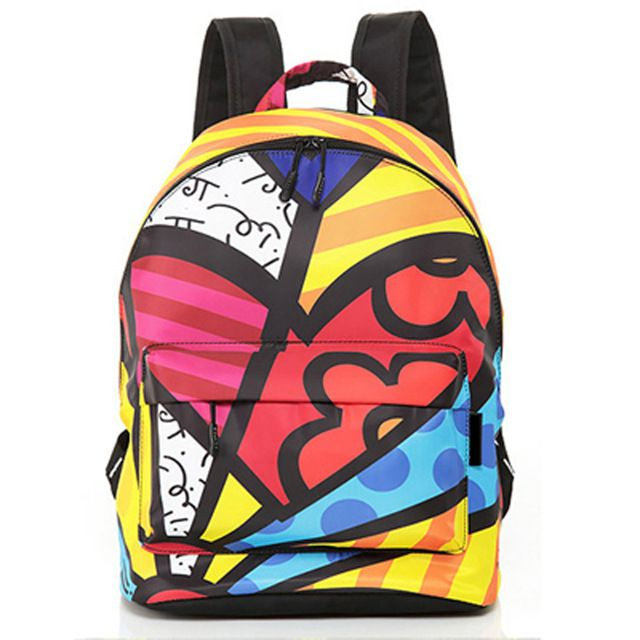 Ромеро Бритто 2017 Лидер продаж в духе колледжа граффити рюкзак атласные рюкзаки дорожные сумки рюкзак мешок школы Бесплатная доставка