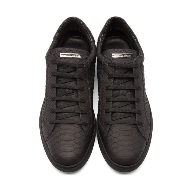 Dsquared2 Black Python-Embossed Leather Sneakers