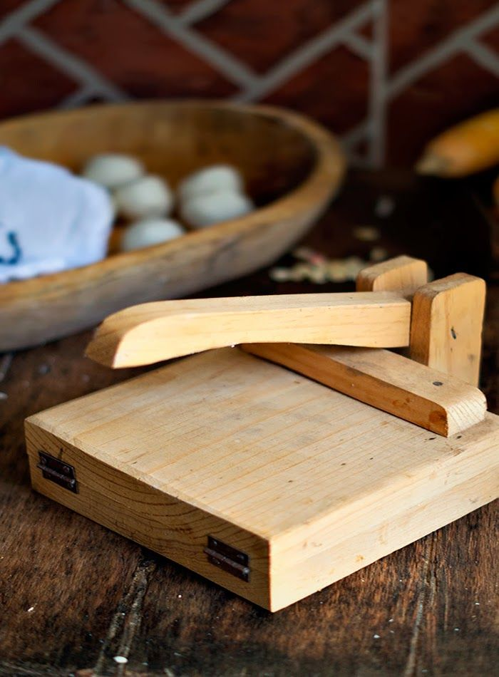 tortilla press. easy to make my own - I need someone to make me one to flatten bottlecaps!!!