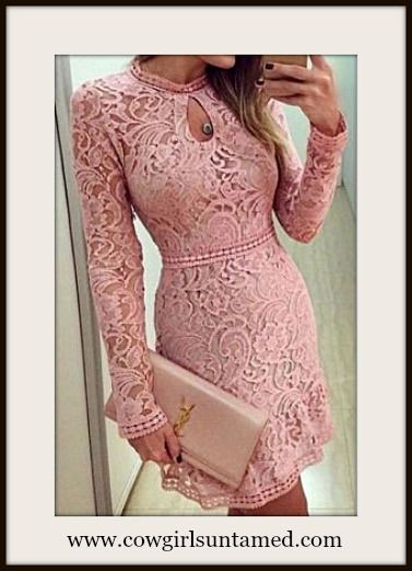 LOOK WHAT WE FOUND! COWGIRL GLAM DRESS Pink High Neckline Keyhole Long Sleeve Lace Mini Dress  #dress #lace #minidress #keyhole #sexy #longsleeve #cocktail #wedding #cowgirl #fashion #clothing #boutique #clubwear #beautiful #stretchy