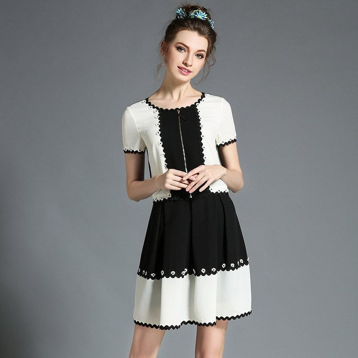 Women Elegant Black White Color Block Patchwork Summer Day Casual Mini Dress Plus Size l-5xl