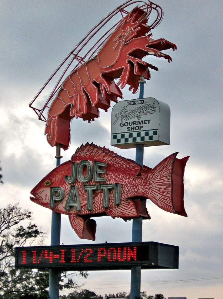 Joe Patti seafood: vintage neon sign, Pensacola, Florida