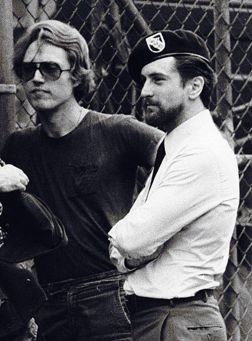 Christopher Walken and Robert De Niro on the set of 'The Deer Hunter', 1978.