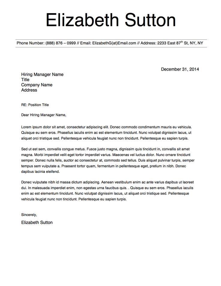 Elizabeth Sutton Cover Letter Template