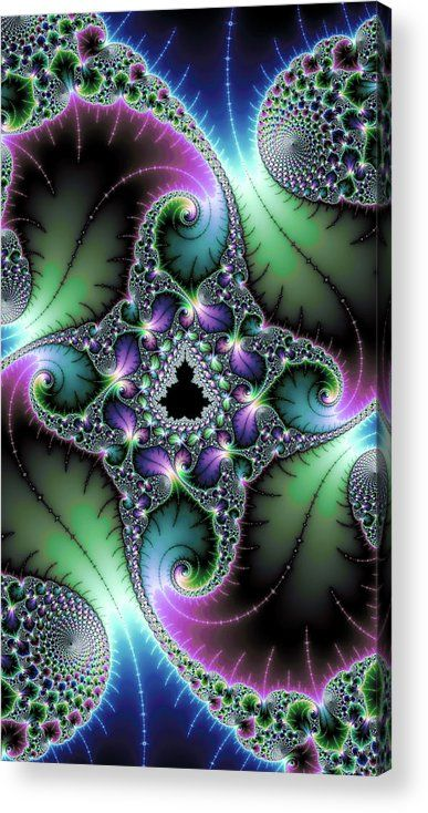 Fractal Art Acrylic Print for sale, little black Mandelbrot Set surrounded by floral elements (leaves) and wonderful spirals. Amazing green, purple and blue jewel colors. The image gets printed directly onto the back of a sheet of clear acrylic. The image is the art - it doesn't get any cleaner than that! Matthias Hauser - Art for your Home Decor and Interior Design.