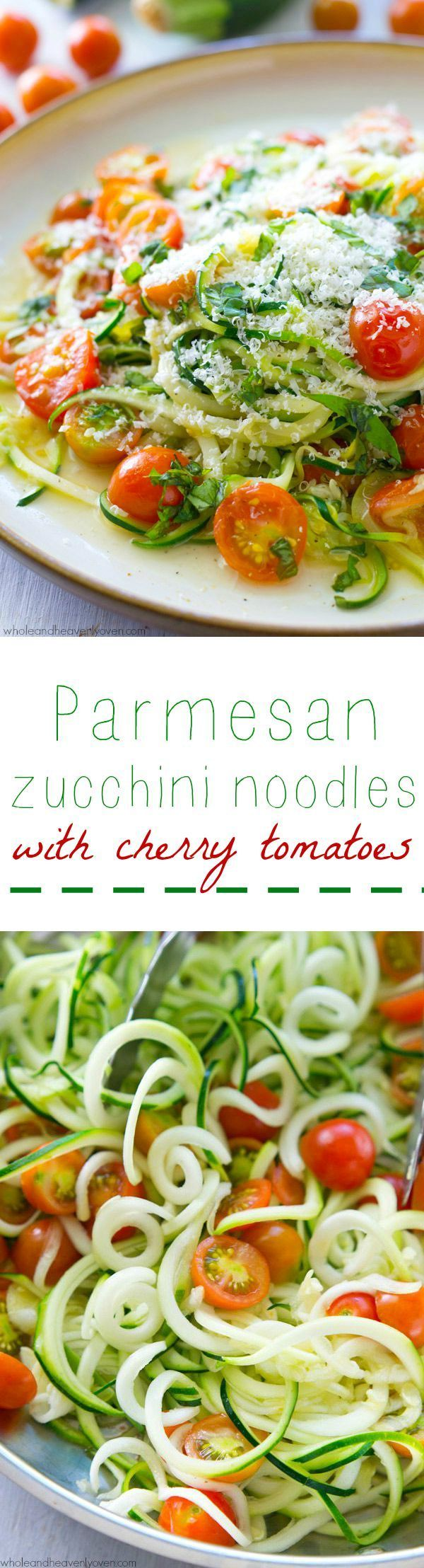 """Made in one pan in only 10 minutes and loaded with Parmesan and sweet cherry tomatoes, these zucchini """"noodles"""" are a simple and healthy vegetarian meal you'll want to make again and again! @WholeHeavenly"""