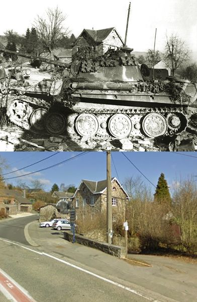 Then and Now WWII: Abandoned Panzer V Ausf.G, La Gleize, Belgium, 1944.