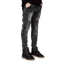 Pantalones Vaqueros de los hombres Corredor de Pista Delgado Biker Jeans Skinny Jeans Para Hombres de Hiphop de la Manera H0292(China)