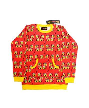 Red Cotton Fleece Patch Pocket Sweatshirt #ohnineone #kids