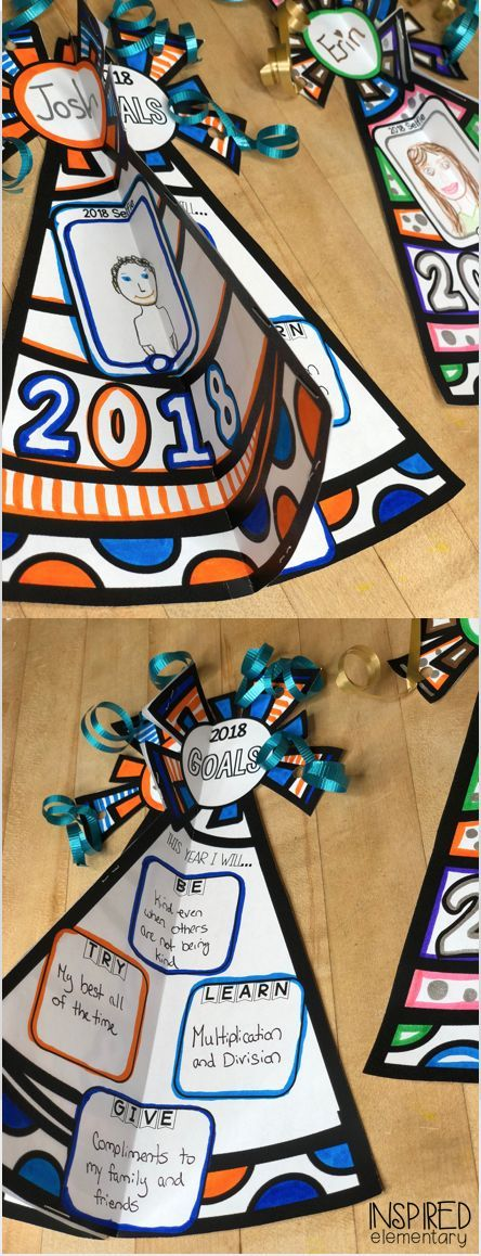 New Year's Goals 2018 - Goal setting activity that makes an awesome, 3-D bulletin board display! #NewYears #Craftivity #GoalSetting #BulletinBoards