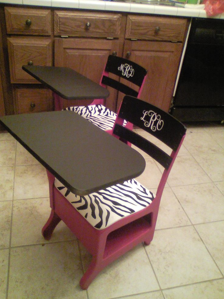 Vintage School Desks Redo Hot Pink & Zebra with Chalkboard tops. Do in boy colors too. Hmmmm... an idea for the grands for Christmas??