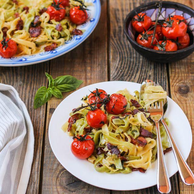 food geek: Паста карбонара с запеченными помидорами черри