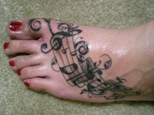 foot tattoos music.. this is like exactly what I want!!!