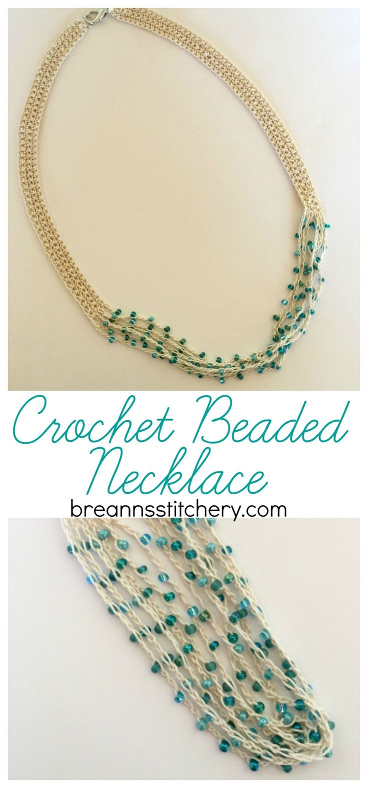 Once you start crocheting jewelry, you won't want to stop! This Crocheted Beaded Necklace is way easier than you think and so much fun. PATTERN Materials: Size 10 crochet thread Size 2 mm hook 90 Czech glass beads Jewelry clasp Needle Level: easy/beginner Pattern Notes & Stitches to Know: sc – single crochet ch – chain NECKLACE You can find the pattern HERE at Lady Behind the Curtain! I hope you enjoy this pattern and love making your own jewelry as much as I do. Looking for more pat...