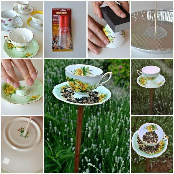 DIY Bird Feeder From Vintage Teacups