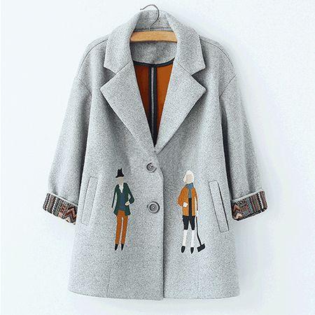 2016 осень женщины пальто, Европейская мода Женский шерстяной куртки Вышивка пиджаки зима серые пальто кашемировые пальто femme C0361 купить на AliExpress