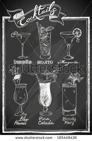 Cocktails collection on chalkboard - stock vector