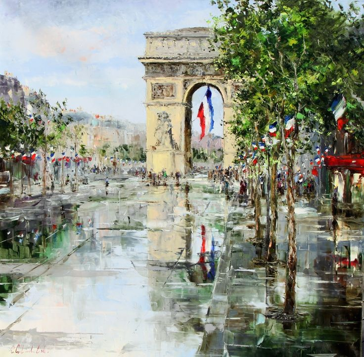 'Paris - Arc De Triomphe - Republic Day' by Gleb Goloubetski Oil on Canvas 120cm x 120cm