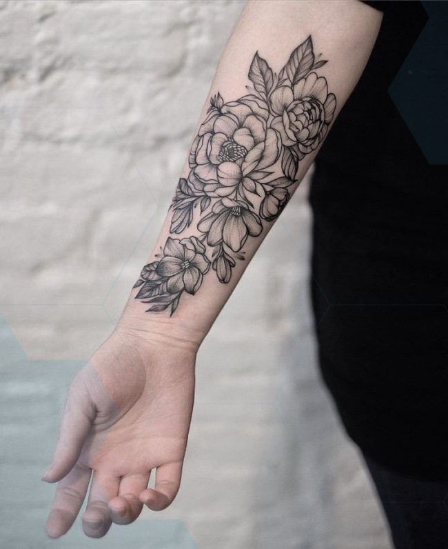 Forearm Tattoo Woman Flower Black White Forearm Tattoo Women Tattoos For Women Forearm Tattoo