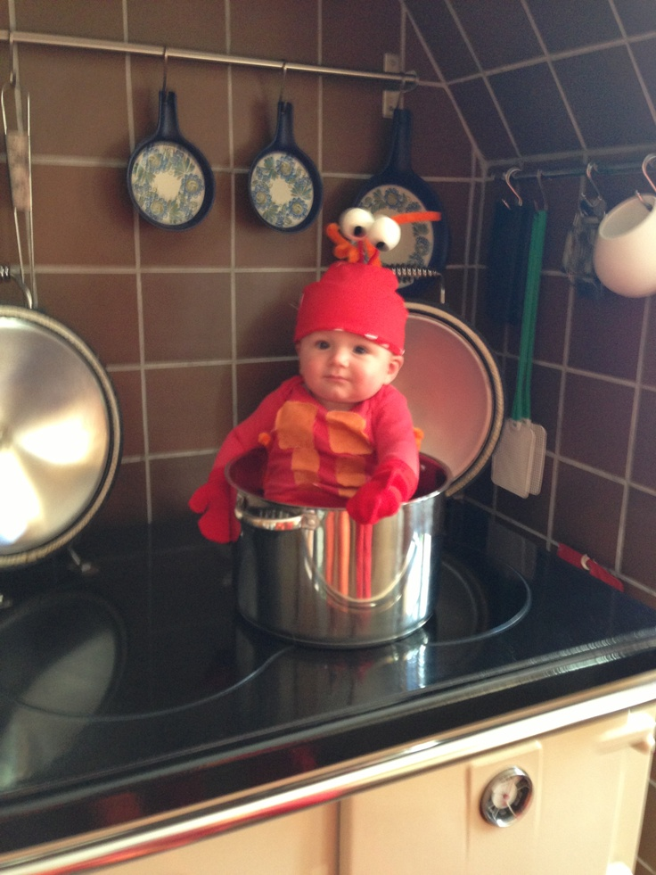 Baby lobster costume. Fun homemade children's costume / outfit / fancy dress! Homemade by me June 2013!