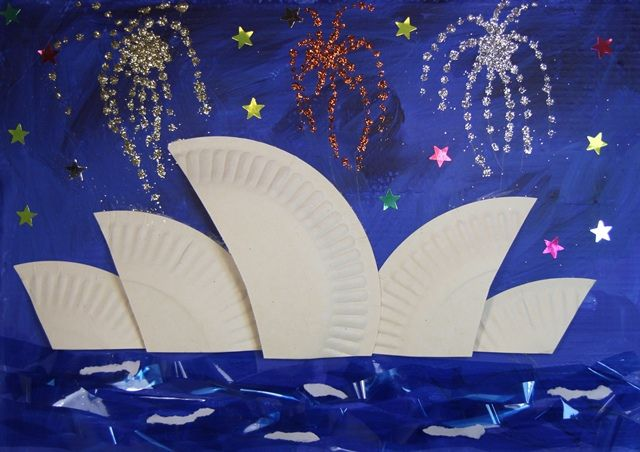 Sydney Opera House using paper plates. So doing this for Australia week :)))