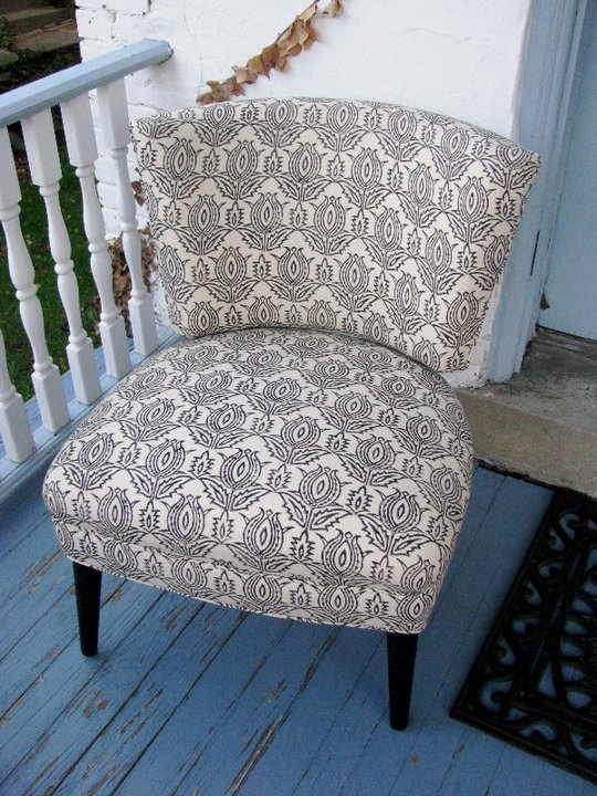 Madeline Weinrib's organic block print on this sweet occasional chair that now resides in Texas.