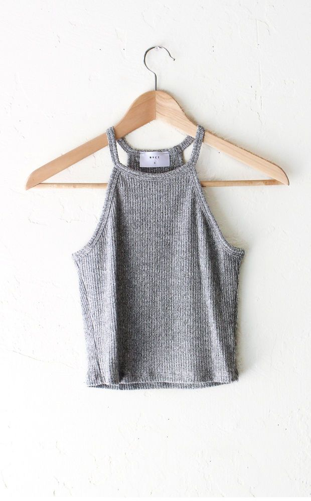 Knit Halter Crop Top - Heather Grey