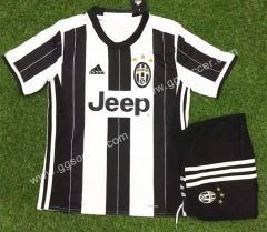 2016-17  Juventus Home White and Black Kids/Youth Soccer Uniform