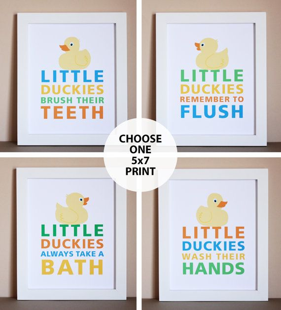 Duck Bathroom Art Print One 5x7 Unframed by HopSkipJumpPaper