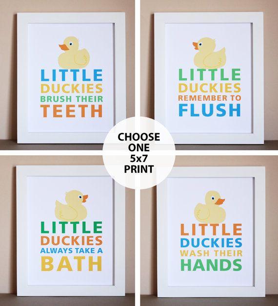 Duck Bathroom Art Print One 5x7 Unframed by HopSkipJumpPaper