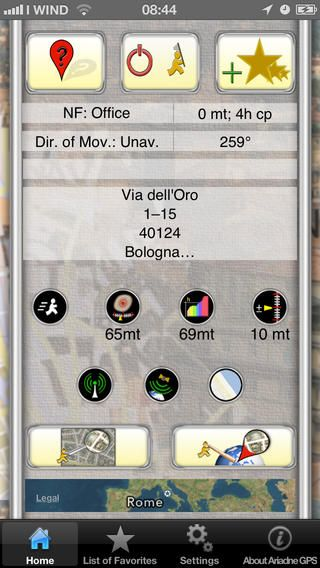 Main screen of the app