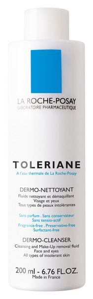 Cleansers/Soaps: La Roche-Posay - Toleriane Dermo-Cleanser is a very simple, fragrance-free cleansing lotion for dry skin. It poses no risk of irritating skin unless you know you're sensitive to one of the ingredients it contains, and it does a decent job of removing most types of makeup.