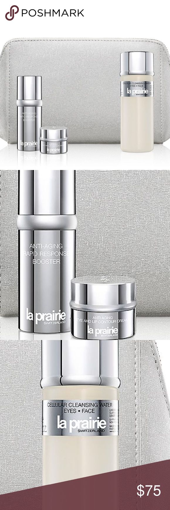 La Prarie 4 piece set Anti- Wrinkle Essentials Gift, featuring a full-size 2 oz. Cellular Cleansing Water for Eyes Face, deluxe samples of Anti-Aging Rapid Response Booster and Anti-Aging Eye & Lip Contour Cream, and a signature cosmetics bag. la prarie Makeup