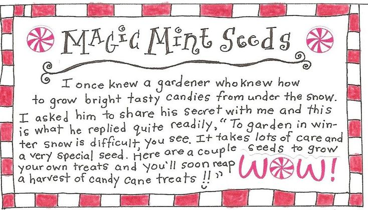Sweet idea for the wee ones! Magic Mint Seed FREE Printable Tag with Poem « Happy Home Fairy